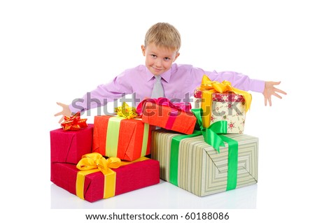 boy with a bunch of gifts . Isolated on white background