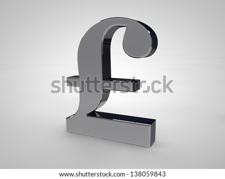 British-Pound symbol isolated on white in silver
