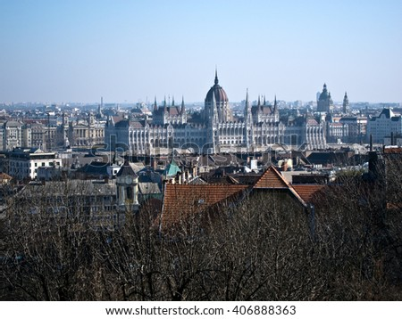Budapest panorama from Rozsadomb (Rose Hill), with the view of the Hungarian Parliament Building
