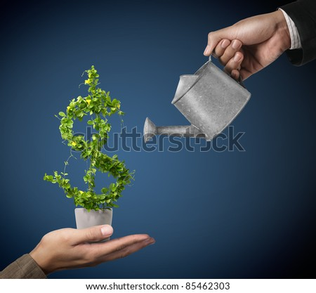 2 Businessman and watering pot  (path in side)