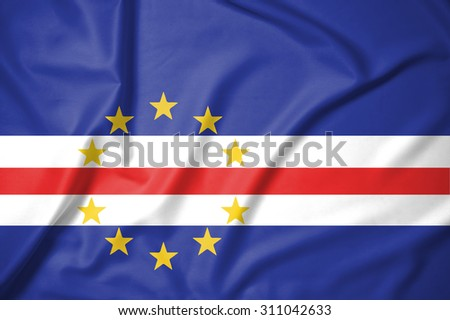 Cabo Verde flag on soft and smooth silk texture�¢?�¨