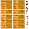 2013 Calendar on bank paper notes background. - stock photo