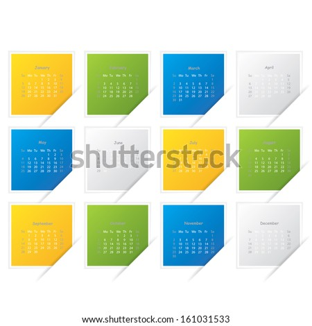 Calendar 2016 Year Colored Square Vector Stock Vector 324526811 ...