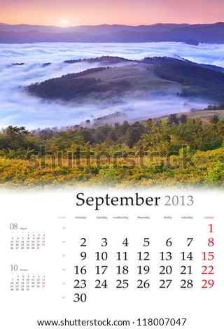 2013 Calendar. September. Beautiful autumn landscape in the mountains.