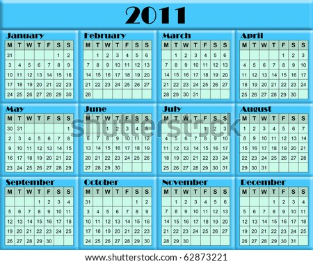 2011 Calendar with soft green month panels and aqua 3d borders with black text.