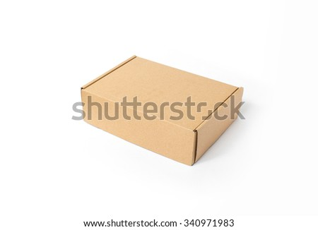 carton box, Simple brown carton box, isolated on white background