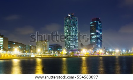 center of nightlife from sea at Barcelona. Catalonia, Spain