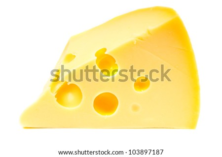 Cheese piece on white background