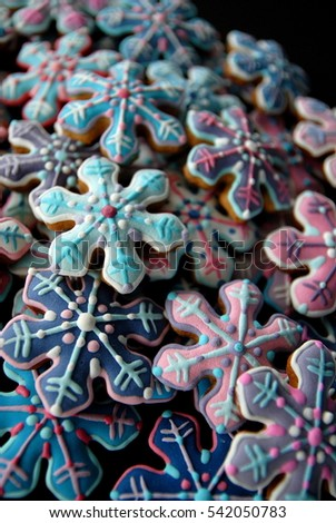 Christmas Snowflakes cookies , Blue stars card