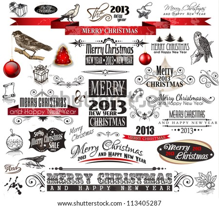 2013 Christmas Vintage typograph design elements: vintage labels. ribbons, stickers, baubles and gift boxes, birds, liquid drops, swirls and so on.