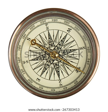Close up view of the compass on the white background.