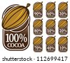100% Cocoa Seals / Marks / Icons - stock vector