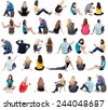 Collection back view of sitting people.  .  backside view of person.  Rear view people set. Isolated over white background. - stock photo
