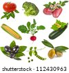 collection of fresh ripe healthy and nutritious vegetables isolated on white background - stock photo