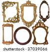 collection picture  carved  frame on a white - stock photo