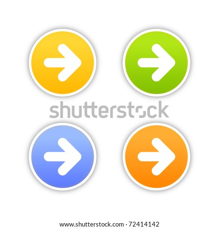 4 colored arrow sign web 2 0 button round stickers with shadow on white bitmap