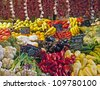 Colorful market stall with vegetables and fruit in Hungary - stock photo