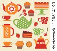 Colorful tea party elements - stock vector