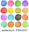 colorful watercolor hand painted circle isolated on white - stock photo