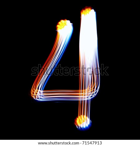 4 - Created by light colorful digits over black background
