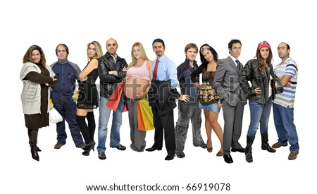 Crowd or group of different people isolated in white
