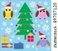 Cute Christmas stickers - stock vector