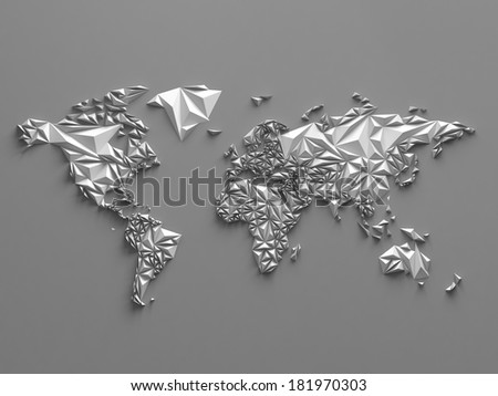 3d abstract geometric world map, global background