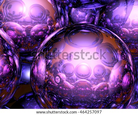 3D Abstract Illustration with various metallic spheres and brighter