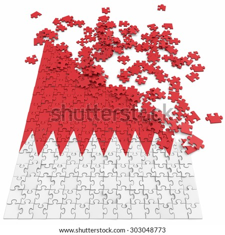 3d abstract randomly scattered puzzle flag of the Bahrain