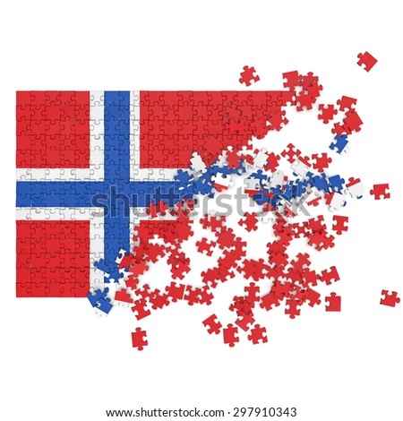 3d abstract randomly scattered puzzle flag of the Norway