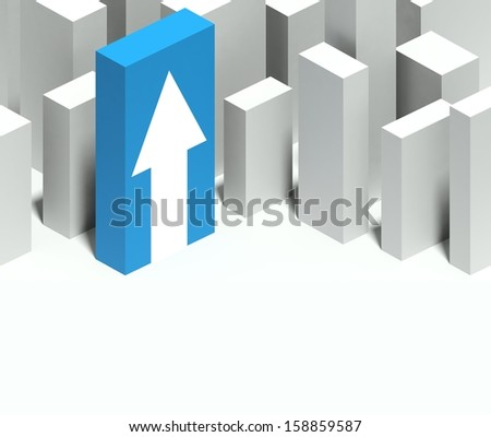 3d arrow symbol in conceptual model of miniature city with distinctive skyscraper, Background and copyspace