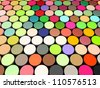 3d beveled cylinder shape in multi rainbow color - stock vector