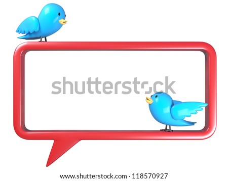 3D birds on the speech bubble on white background, isolated