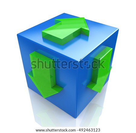 3D blue cube with an arrow pointing the direction. Concept illustration in the design of the information associated with the abstract. 3d illustration