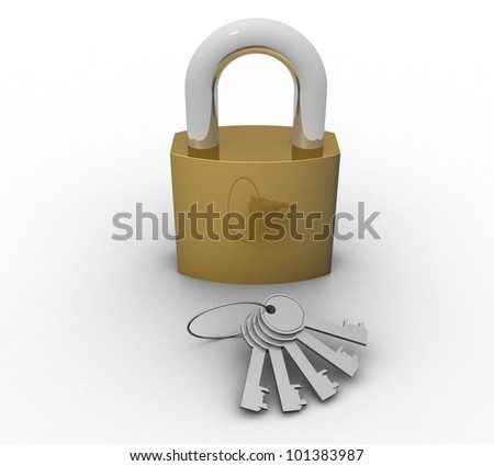 3d bunch of keys and lock on a white background isolated