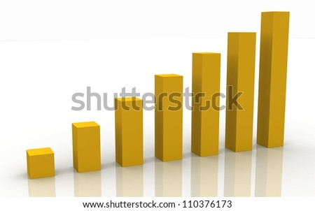 3d business graph on a white background
