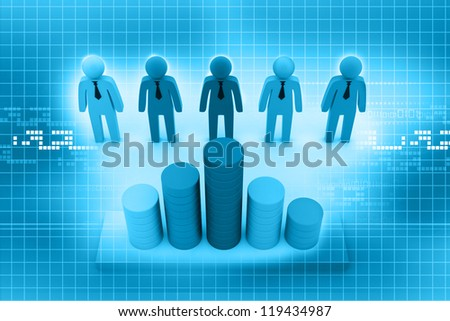 3d business people with graph
