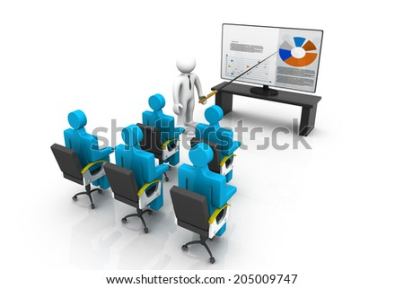 3d business persons at a Presentation,  business growth analysing