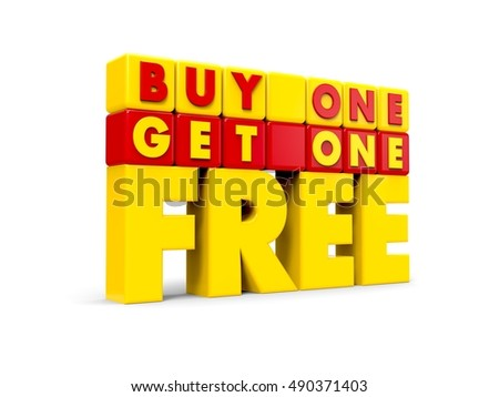 3D Buy One Get One Free Text on White Background