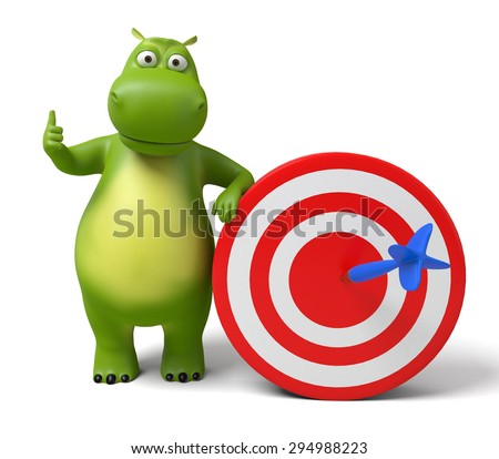 3d cartoon animal with a target. 3d image. Isolated white background