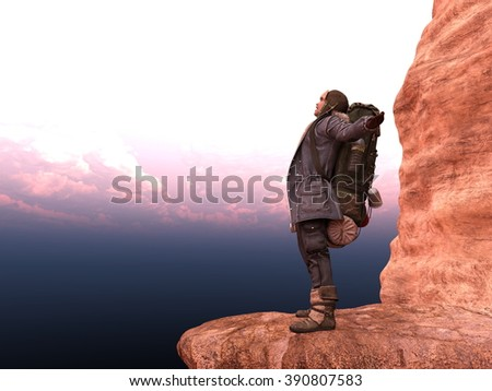 3D CG rendering of a backpacker