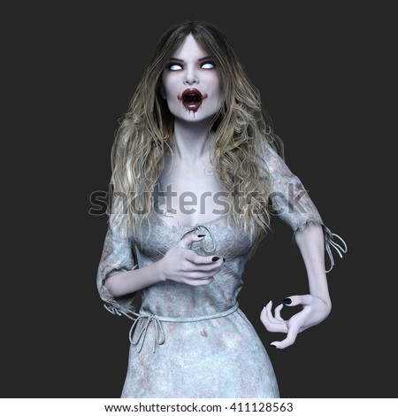 Woman holding magical mirror imagination surreal stock for Mirror zombie girl