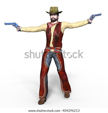 3D CG rendering of a gun man