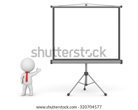 3d character showing a large projector screen isolated on white background
