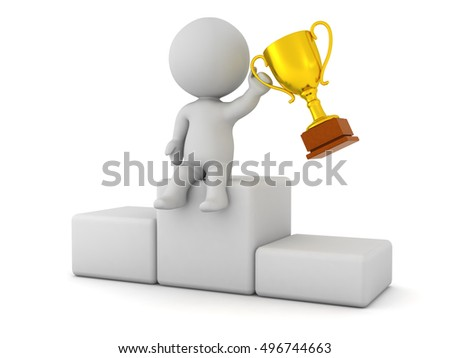 3D character sitting on a podiumn holding a golden trophy. Isolated on white background.