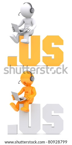3d character sitting on .US domain sign. Isolated on white