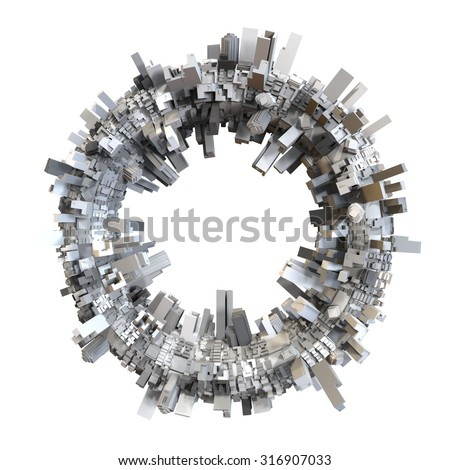 3D circle shaped city model
