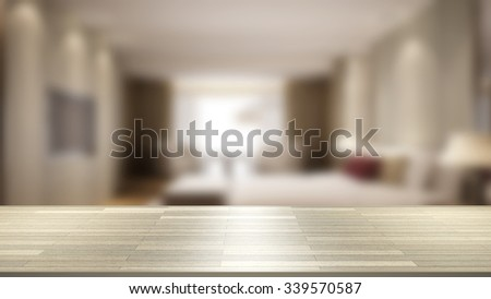 3D Close Up wood table with blur background