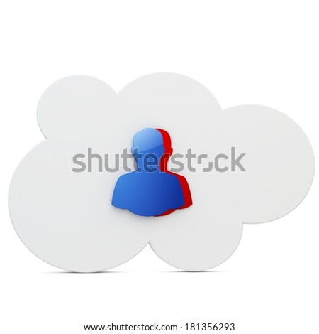 3d cloud with user icon on white background