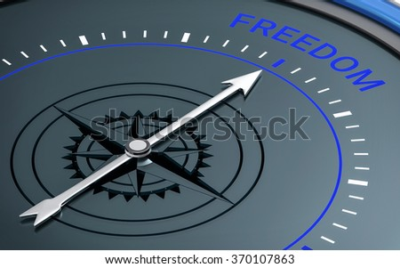 3D Compass. Freedom Word. Orientation, Aim or Target Concept.